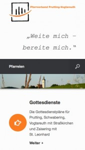 Die Pfarrverbandswebsite in Smartphone-Ansicht, Screenshot