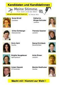 Aushang zur Pfarrgemeinderatswahl 2014 in Vogtareuth