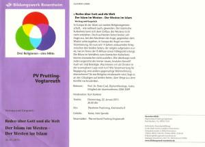 Flyer: Reden über Gott und die Welt: Der Islam im Westen – der Westen im Islam