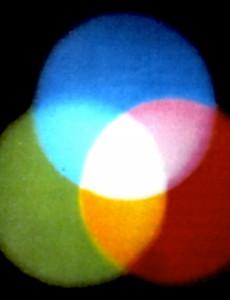 Additive Farbmischung: Illustration zur Gemeinsamkeit der Religionen