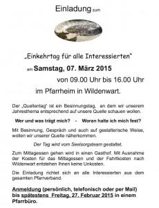 Einladung zum Einkehrtag des Pfarrverbands Prutting-Vogtareuth 2015