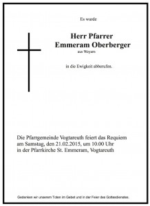 Sterbevermeldung Pfarrer Emmeram Oberberger