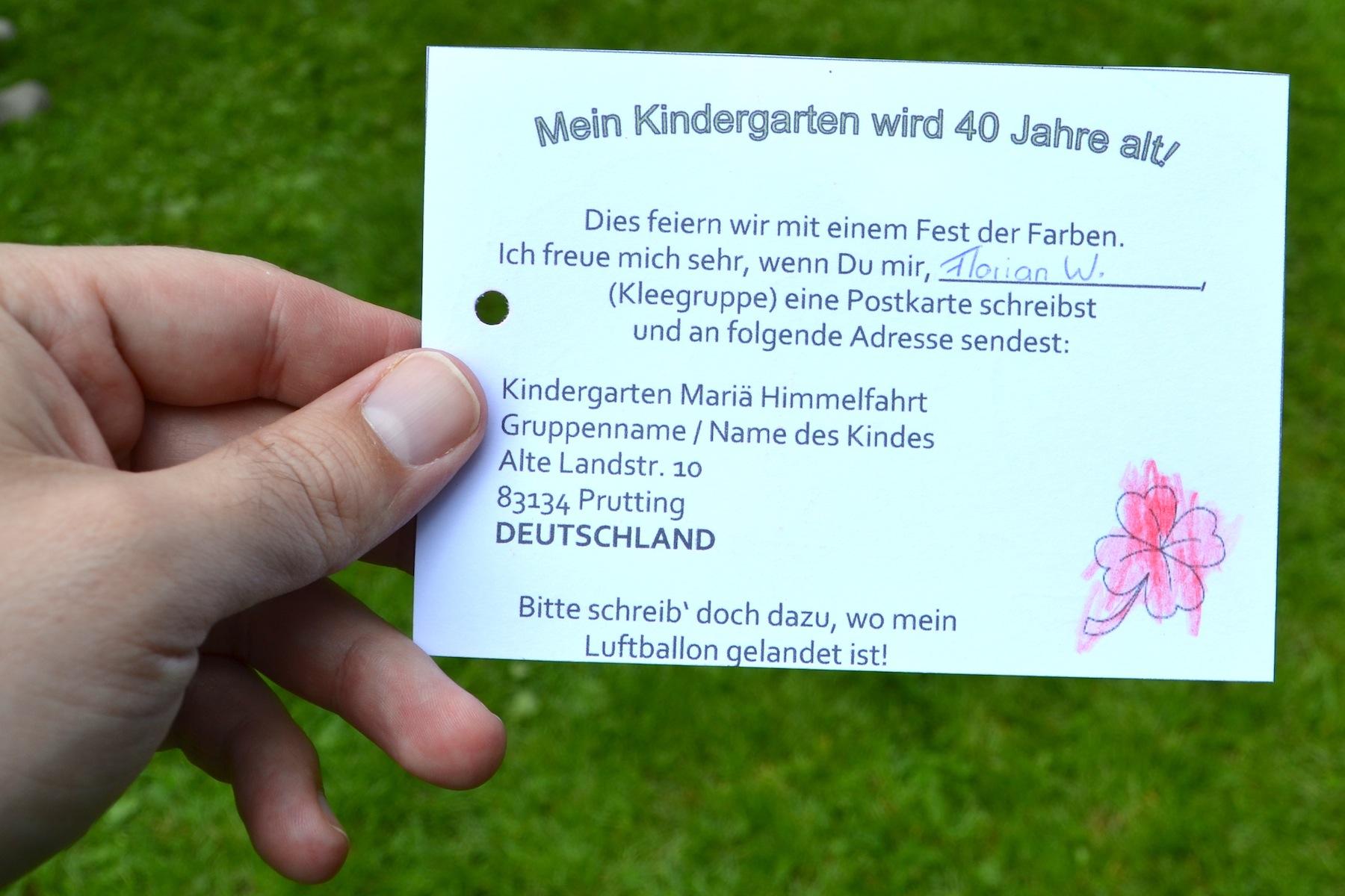 40 Jahre Kindergarten Mariä Himmelfahrt Prutting: Antwortkarte