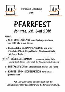 Plakat: Pfarrfest Schwabering 2016