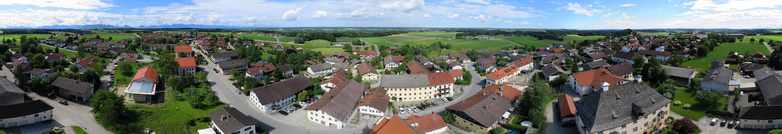 Blick vom Turm von St. Emmeram, Vogtareuth, am 18.6.2016