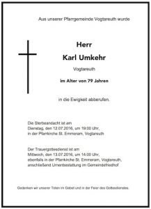 Sterbevermeldung Karl Umkehr