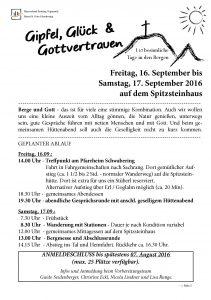 Info-Blatt Bergtage Pfarrei