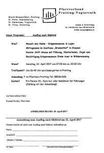 Anmeldung zum PV-Ausflug nach Südtirol und Tirol am 22.4.2017