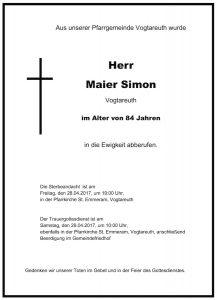 Sterbevermeldung Simon Maier, Vogtareuth