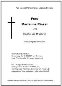 Sterbevermeldung Rinser Marianne, Vogtareuth