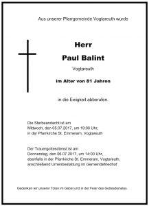 Sterbevermeldung Paul Balint, Vogtareuth