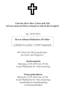 Sterbevermeldung Johann Hofmeister, Lochen/Vogtareuth