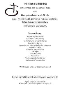 Einladung zur Jahreshauptversammlung der Gemeinschaft katholischer Frauen Vogtareuth am 27. Januar 2019