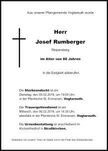 Sterbevermeldung Josef Rumberger, Vogtareuth