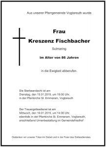 Sterbevermeldung Vogtareuth: Kreszenz Fischbacher, Sulmaring