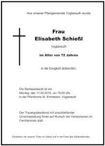 Sterbevermeldung Elisabeth Schießl, Vogtareuth