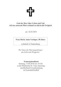 Sterbevermeldung Voringer Maria Anna, Niedernburg