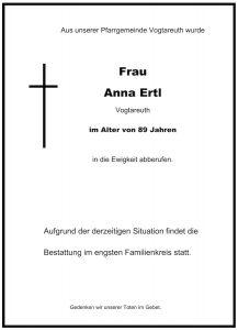 Sterbevermeldung Anna Ertl, Vogtareuth