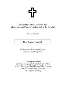 Sterbevermeldung Johann Thuspaß, Prutting