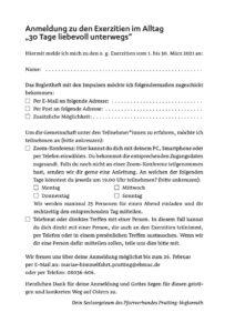 Anmeldung zu den Exerzitien in der Fastenzeit 2021 im Pfarrverband Prutting-Vogtareuth