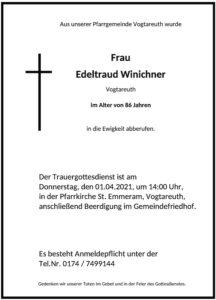 Sterbevermeldung Edeltraud Winichner